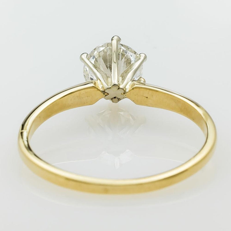 14K Yellow Gold Natural 1.00ct Round Diamond SI1/H Engagement Ring Size 6 Engagement Rings Oaks Jewelry