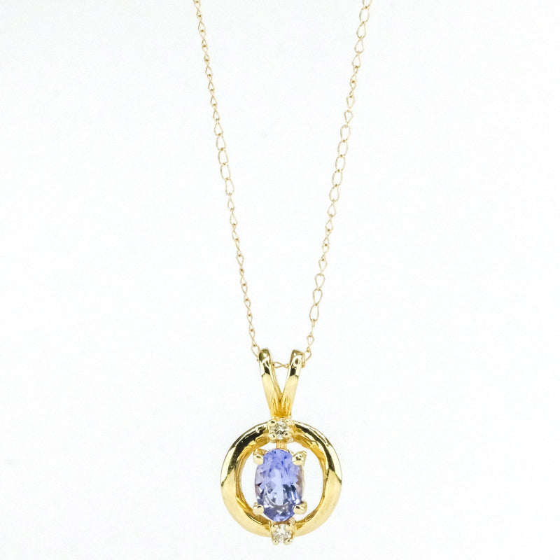 "14K Yellow Gold Open Circle Tanzanite & Diamond Accents Pendant on 18"" Chain Necklace Pendants with Chains Oaks Jewelry"