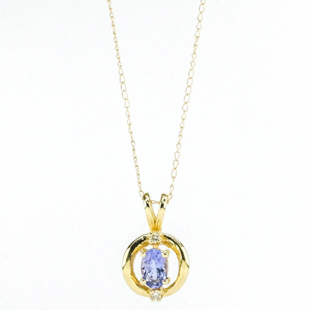 "14K Yellow Gold Open Circle Tanzanite & Diamond Accents Pendant on 18"" Chain Pendants with Chains Oaks Jewelry"