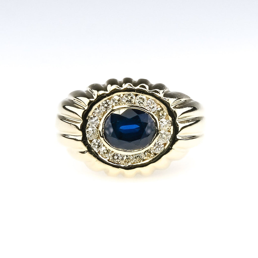14K Yellow Gold Oval Created Blue Sapphire & Diamond Accents Halo East-West Ring Gemstone Rings Oaks Jewelry