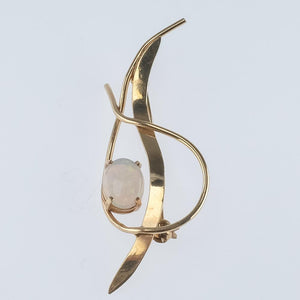 14K Yellow Gold Oval Opal Open Work Freeform Gemstone Pin - 2.6 grams Pins and Brooches Oaks Jewelry