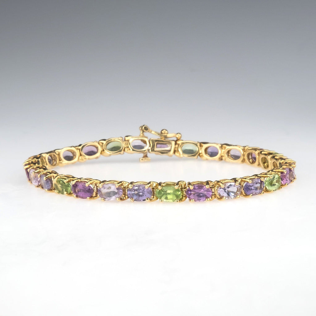 "14K Yellow Gold Purple, Pink & Green Multi Colored Amethyst Gemstone 7"" Bracelet Bracelets Oaks Jewelry"