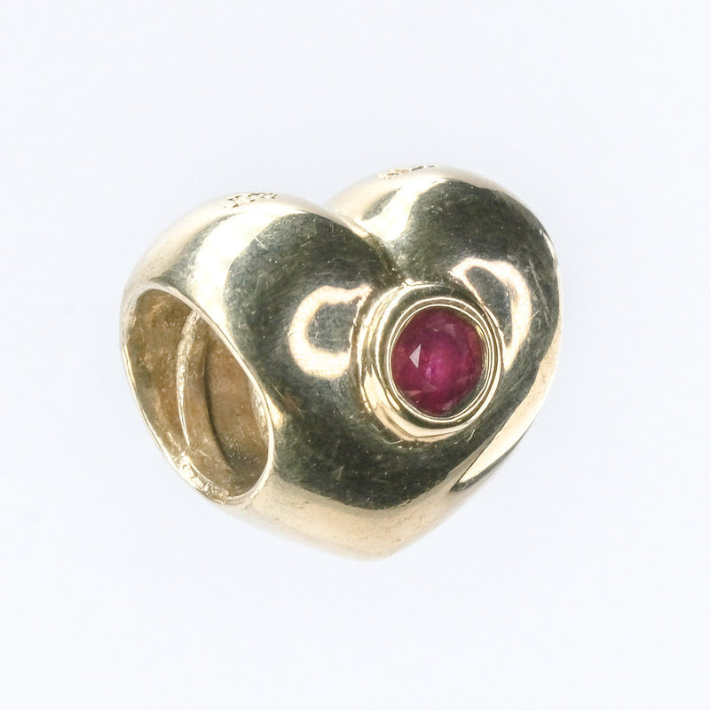 14K Yellow Gold Retired Authentic PANDORA Ruby Puffed Heart Bead Charm 750294RU Charms and Charm Bracelets PANDORA