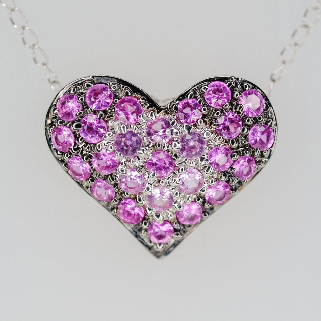 "14K/18K White Gold Pink Spinel Accents Heart Pendant on 18"" Chain Necklace Pendants with Chains Oaks Jewelry"