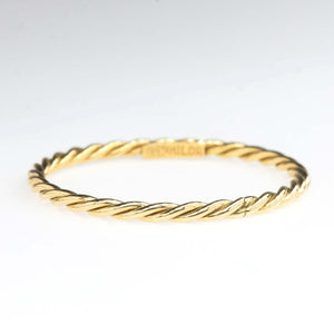 1.4mm Wide Twisted Rope Stackable Band Ring in 18K Yellow Gold Metal Rings Oaks Jewelry