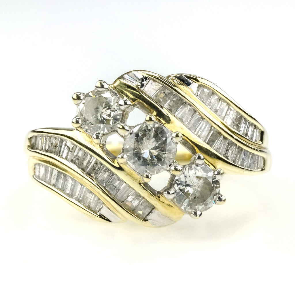 1.50ctw Diamond Three Stone w/ Side Accents Anniversary Ring in 10K Yellow Gold Diamond Rings Oaks Jewelry