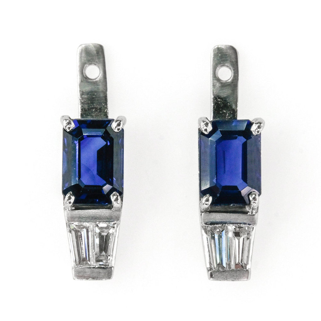 1.50ctw Emerald Cut Sapphire w/ Diamond Accented Earring Enhancer in Platinum Earrings Oaks Jewelry