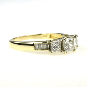1.50ctw Three Stone Diamond w/ Side Accents Engagement Ring in 14K Yellow Gold Engagement Rings Oaks Jewelry