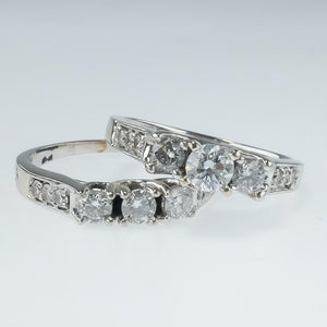 1.50ctw Three Stone Round Diamond Accented Matching Bridal Set in 14K White Gold Bridal Sets Oaks Jewelry