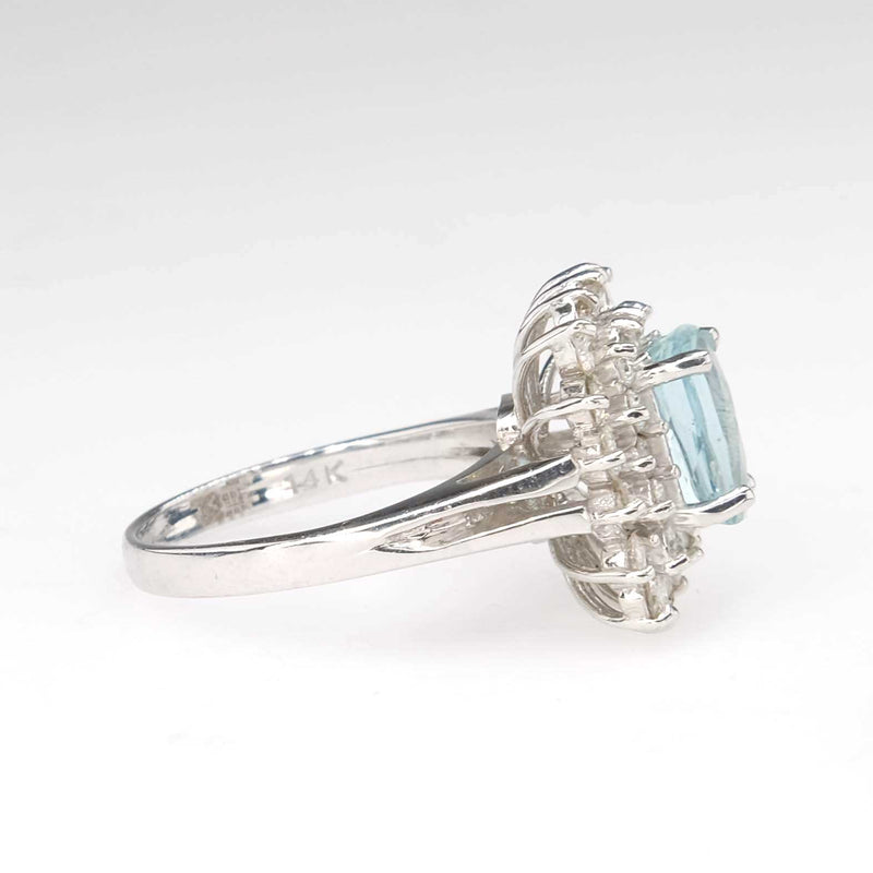 1.55ct Cushion Cut Aquamarine & Diamond Double Halo Ring in 14K White Gold Gemstone Rings Oaks Jewelry