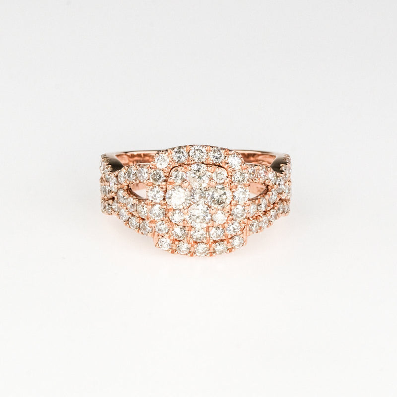 1.62ctw Round Diamond Cluster Matching Twisted Bridal Set in 14K Rose Gold Bridal Sets Oaks Jewelry