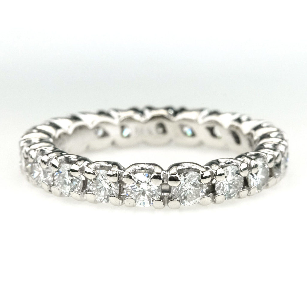 1.62ctw SI1/G Round Diamond Accented Eternity Band Ring in 14k White Gold Wedding Rings Oaks Jewelry