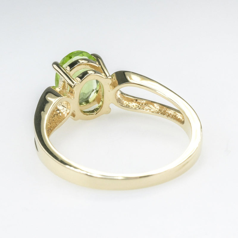 1.66ct Oval Peridot Solitaire Open Shank Ring in 10K Yellow Gold Gemstone Rings Oaks Jewelry