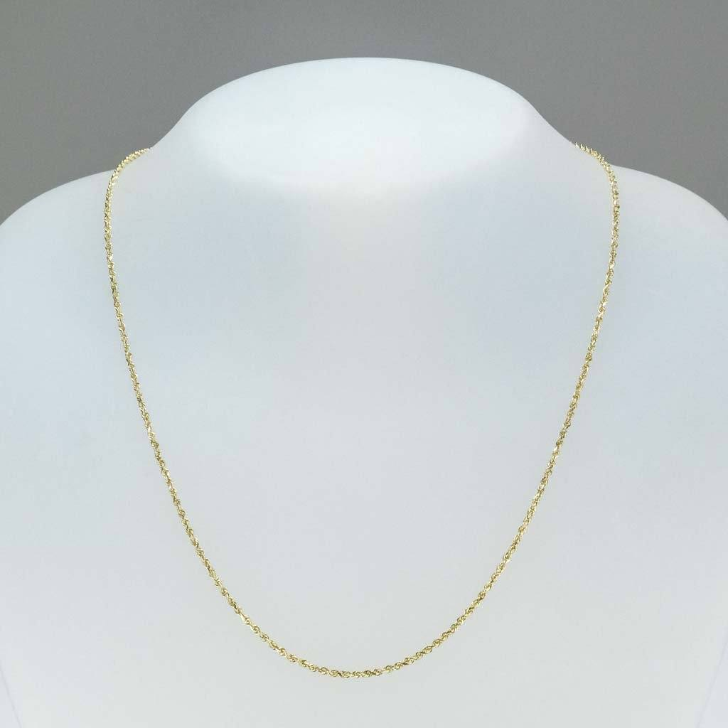 "1.6mm Wide Rope 18"" Chain in 14K Yellow Gold Chains Oaks Jewelry"