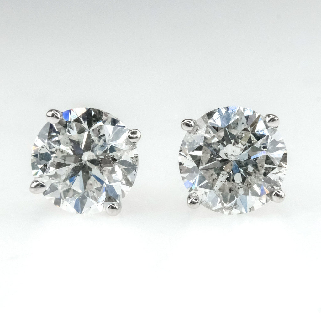 1.70ctw I1/H Round Diamond Solitaire Stud Pierced Earrings in 14K White Gold Earrings Oaks Jewelry