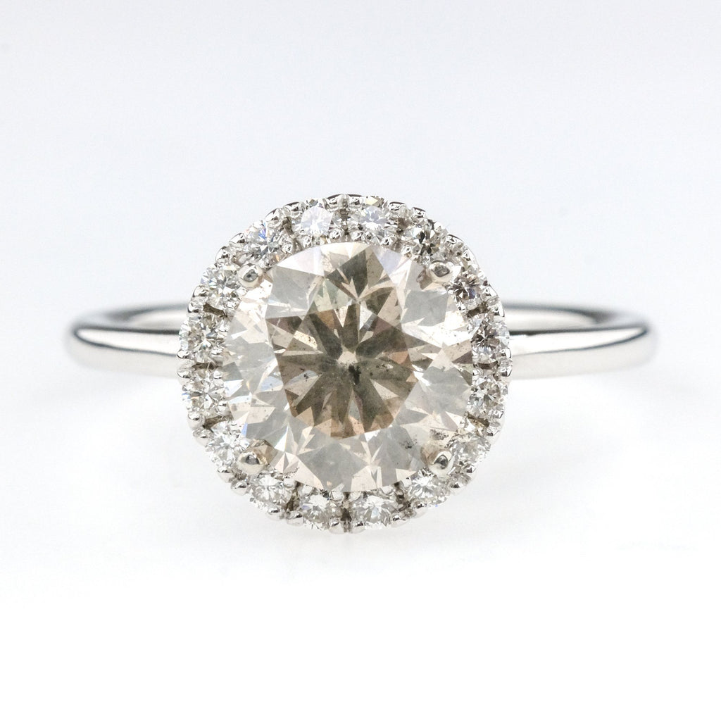1.73ct Round Brilliant Diamond with Halo Engagement Ring in 14K White Gold Engagement Rings Oaks Jewelry