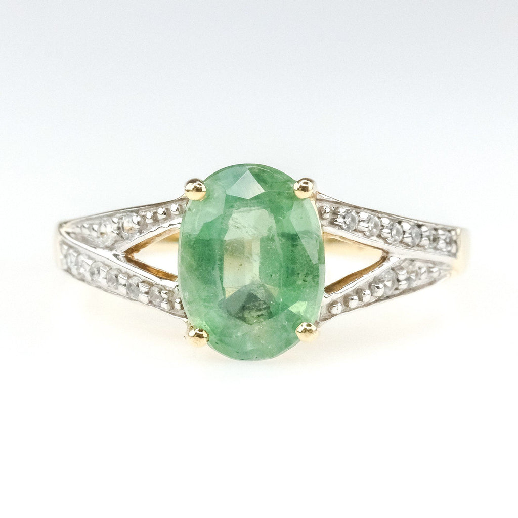 1.75ct Green Quartz w/ Diamond Accents Gemstone Ring in 10K Yellow Gold Gemstone Rings Oaks Jewelry