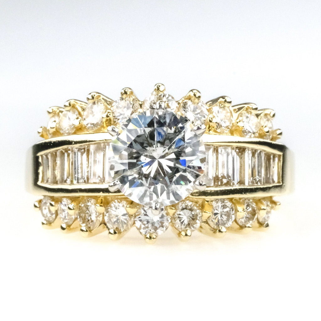 1.75ct Round Diamond w/ Side Accents Engagement Ring in 14K Yellow Gold Engagement Rings Oaks Jewelry