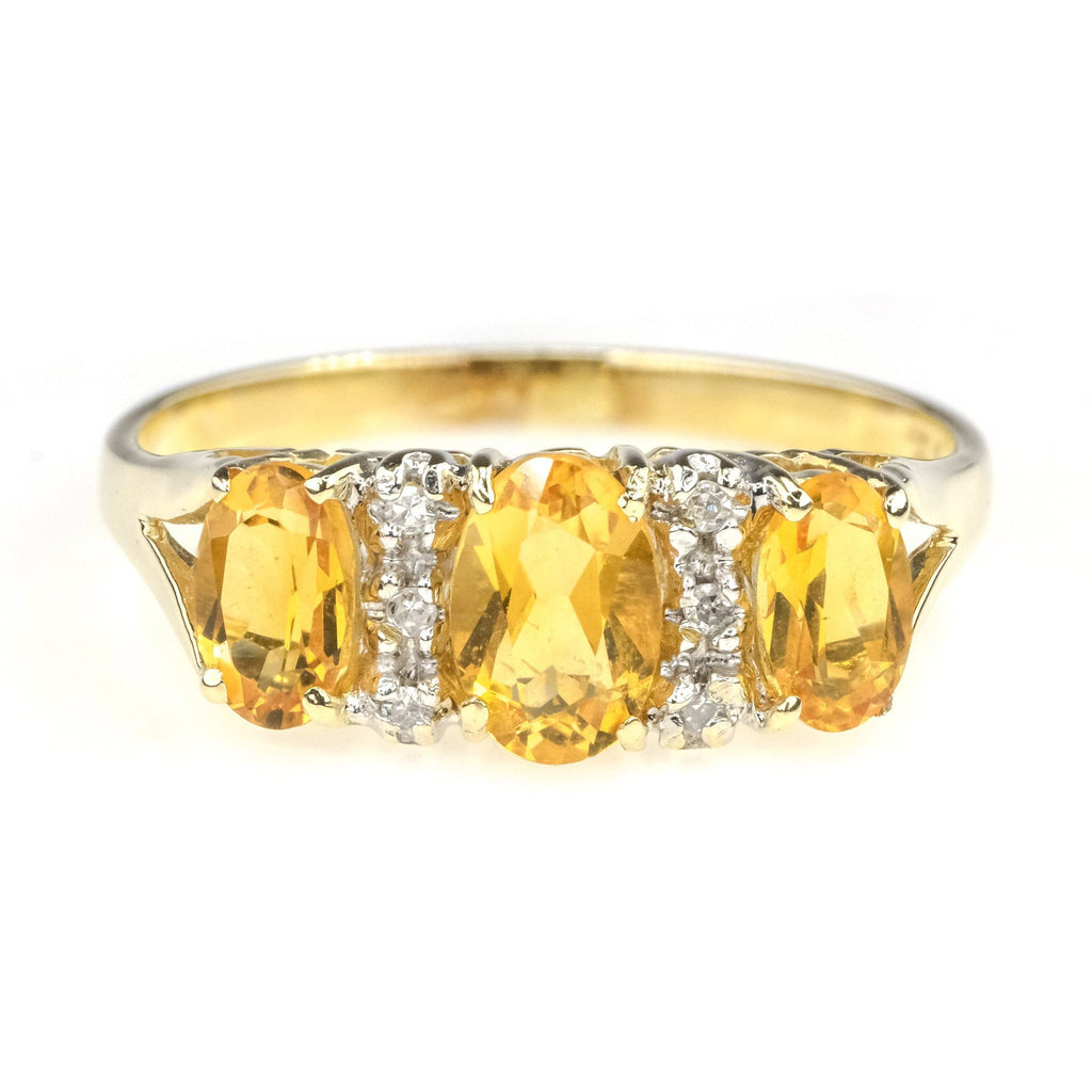 1.75ctw Oval Citrine with Diamond Accents Gemstone Ring in 10K Yellow Gold Gemstone Rings Oaks Jewelry