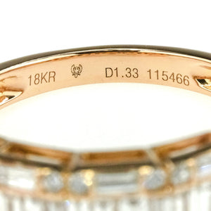 1.75ctw Round & Baguette Diamond Accented Wedding Band Ring in 18K Rose Gold Wedding Rings Oaks Jewelry