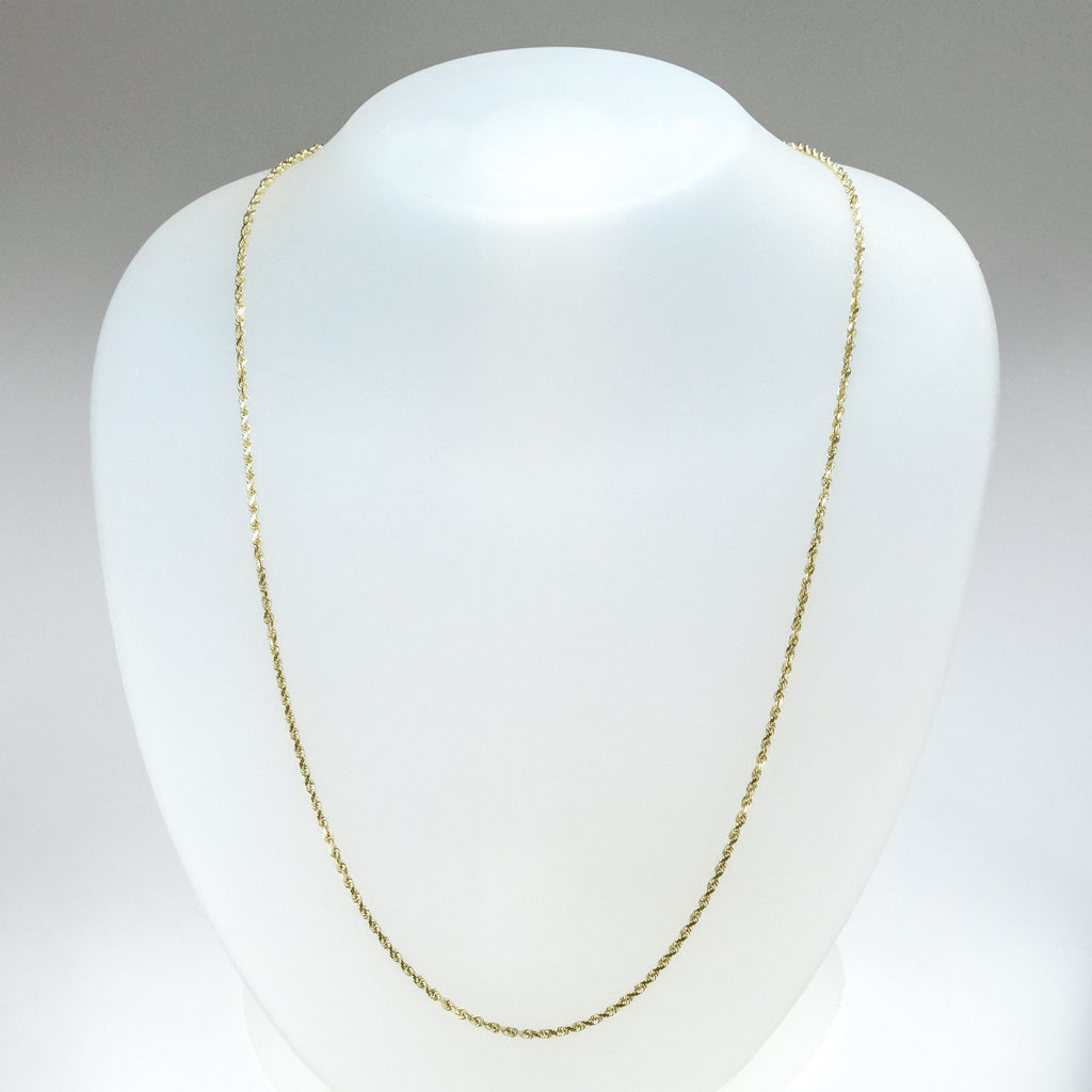 "1.7mm Wide Rope 30"" Chain in 10K Yellow Gold Chains Oaks Jewelry"
