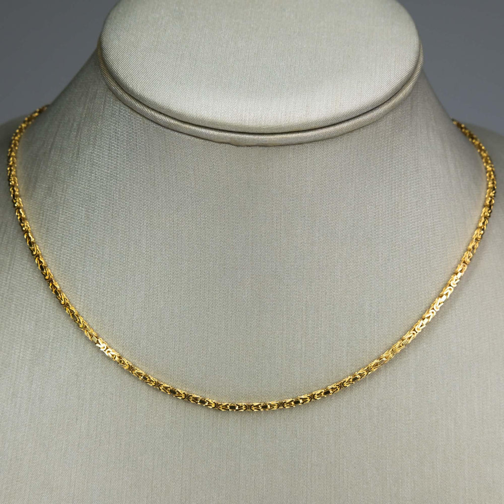 "1.7mm Wide Square Byzantine Link 18"" Chain Necklace in 14K Yellow Gold Chains Oaks Jewelry"
