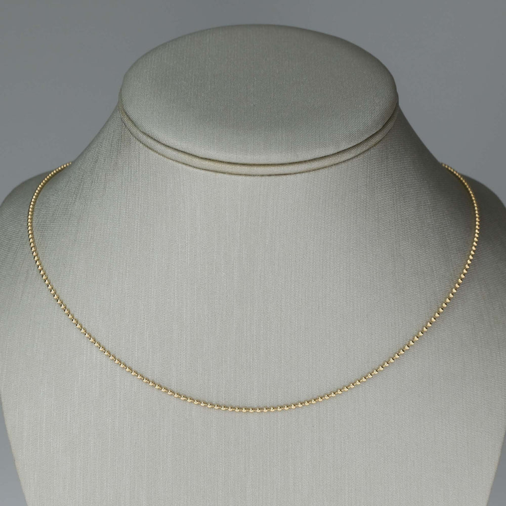 "18"" Bead Chain in 14K Yellow Gold Chains Oaks Jewelry"
