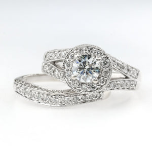 1.80ctw Round Diamond Halo & Split Shank Milgrain Bridal Set in 14K White Gold Bridal Sets Oaks Jewelry