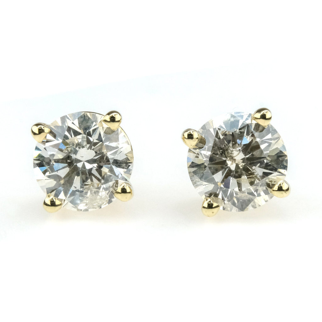 1.80ctw Round Diamond Solitaire Screw Back Stud Earrings in 14K Yellow Gold Earrings Oaks Jewelry