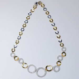 "18K Two Tone 2.50ctw Diamond Accented Curved Round Link 20"" Statement Necklace Necklaces Oaks Jewelry"
