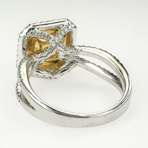 18K Two Tone Gold 1.01ct Princess Diamond Double Halo Engagement Ring Engagement Rings Oaks Jewelry