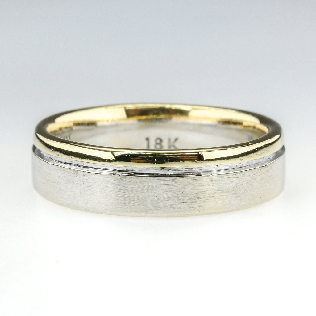 18K Two Tone Gold 5.5mm Wide Comfort Fit Wedding Band Ring Size 8.5 - 8.0 grams Wedding Rings OaksJewelry