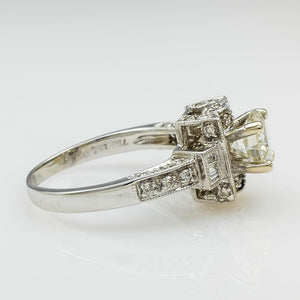 18K White Gold GIA 1.03ct Round Brilliant Diamond I1/M Accented Engagement Ring Engagement Rings Oaks Jewelry