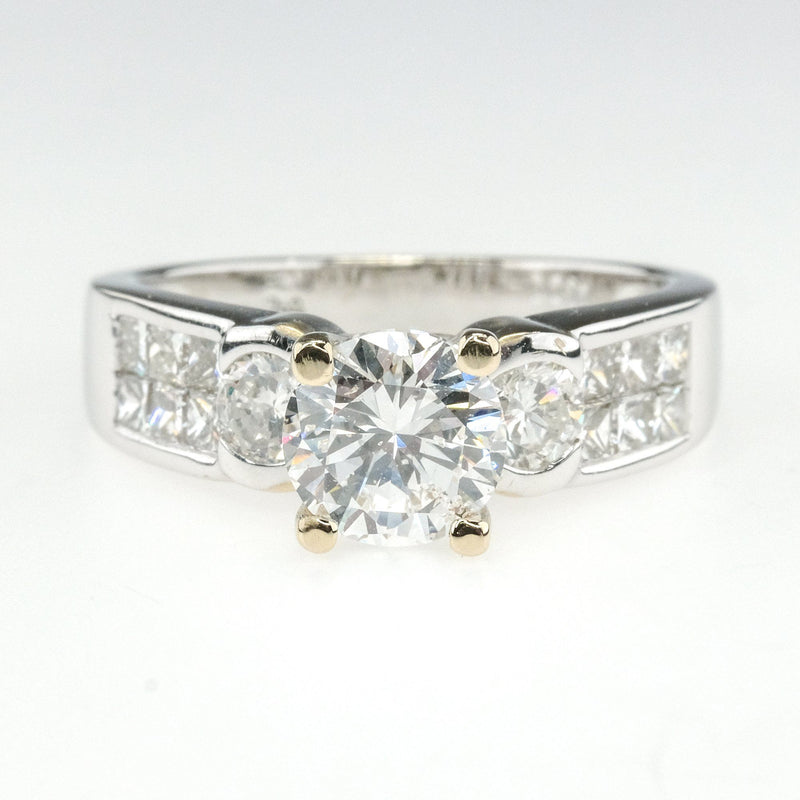 18K White Gold GIA 1.14ct Round Diamond I1/D & Side Accented Engagement Ring Engagement Rings OaksJewelry