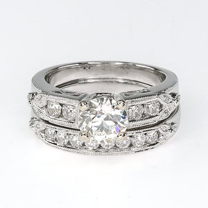 18K White Gold GIA 1.26ct Round Diamond SI1/L & Side Accented Vintage Bridal Set Bridal Sets Oaks Jewelry