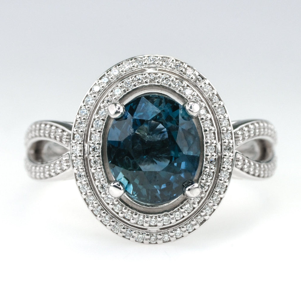 18K White Gold GIA 3.10ct Oval Blue Sapphire & Diamond Double Halo Ring Size 7 Gemstone Rings OaksJewelry