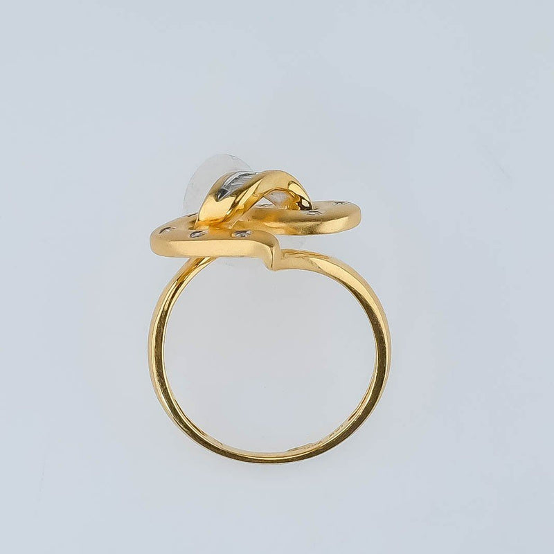 18K Yellow Gold 0.25ctw Diamond Accented Abstract Statement Ring Size 7 Diamond Rings Oaks Jewelry
