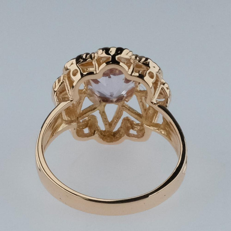 18K Yellow Gold 1.25ct Round Pink Quartz Open Work Floral Motif Etched Halo Ring Gemstone Rings Oaks Jewelry