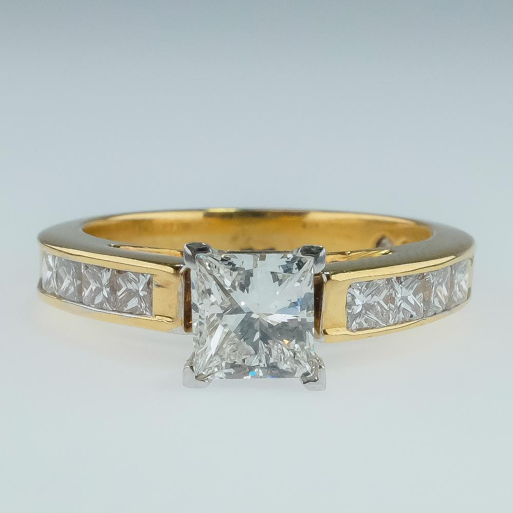 18K Yellow Gold GIA 1.00ct Princess Cut VS2/H Diamond Accented Engagement Ring Engagement Rings OaksJewelry
