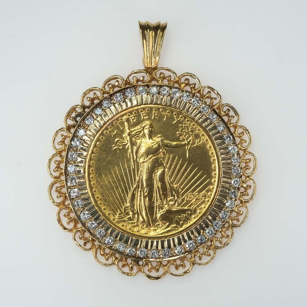 1924 Saint-Gaudens $20 Double Eagle Gold Coin Pendant with Diamond Bezel Pendants Oaks Jewelry