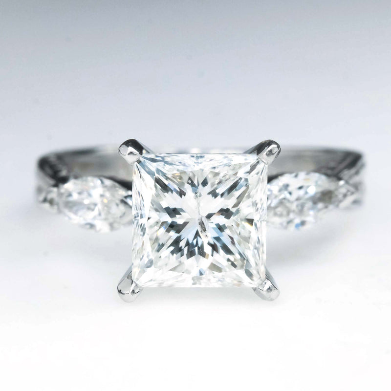 1.94ct Princess & Marquise Diamond Engagement Ring in Platinum Engagement Rings Oaks Jewelry
