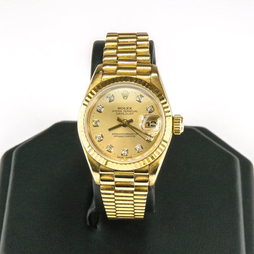 1995 Ladies Rolex 18K Gold Oyster Perpetual Datejust President 26mm Watch Watches Rolex