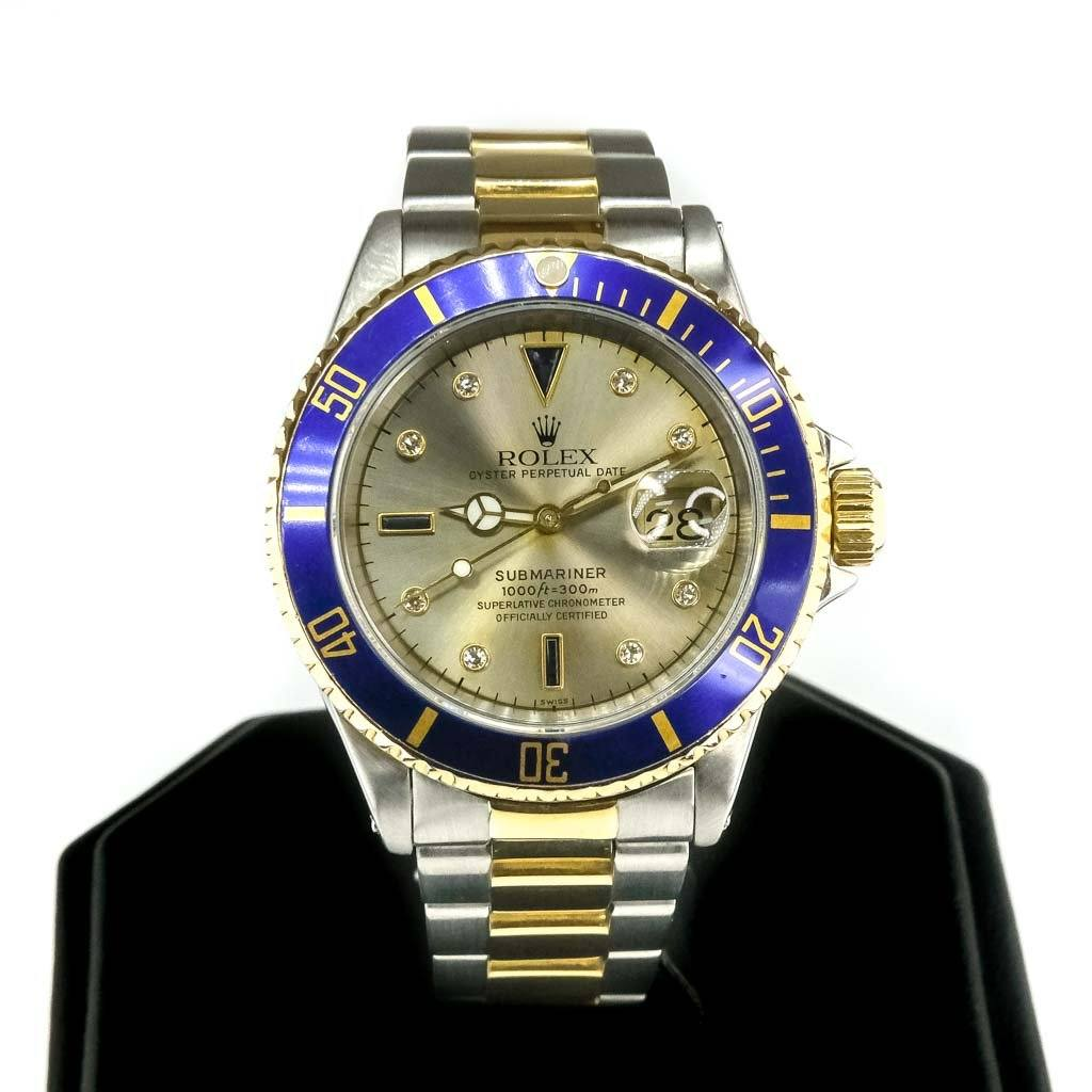 1999 Men's Rolex 40mm 18K/Stainless Submariner Serti Diamond Dial Watch - 16613 Watches Rolex