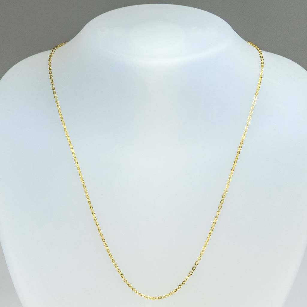 "1mm Wide Flat Oval Cable 18"" Chain in 22K Yellow Gold Chains Oaks Jewelry"