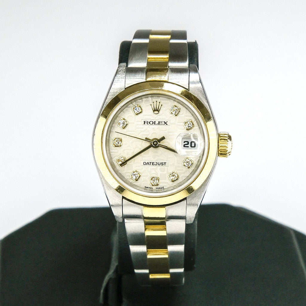 2002 Rolex Two Tone 18K/Stainless Datejust Diamond Dial Wrist Watch 79163 Watches Rolex