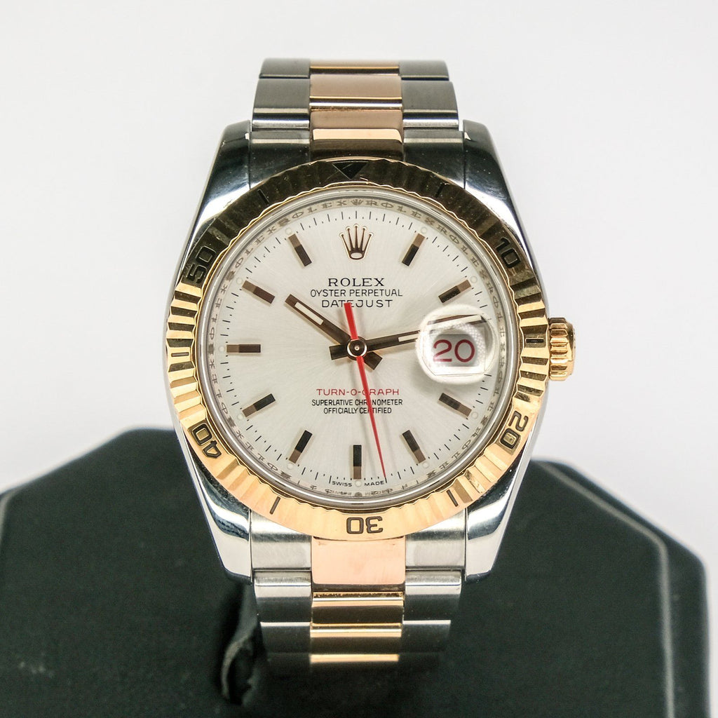 2003 Rolex 18K Everose Stainless Datejust Thunderbird Turn-O-Graph Watch 116261 Watches Rolex