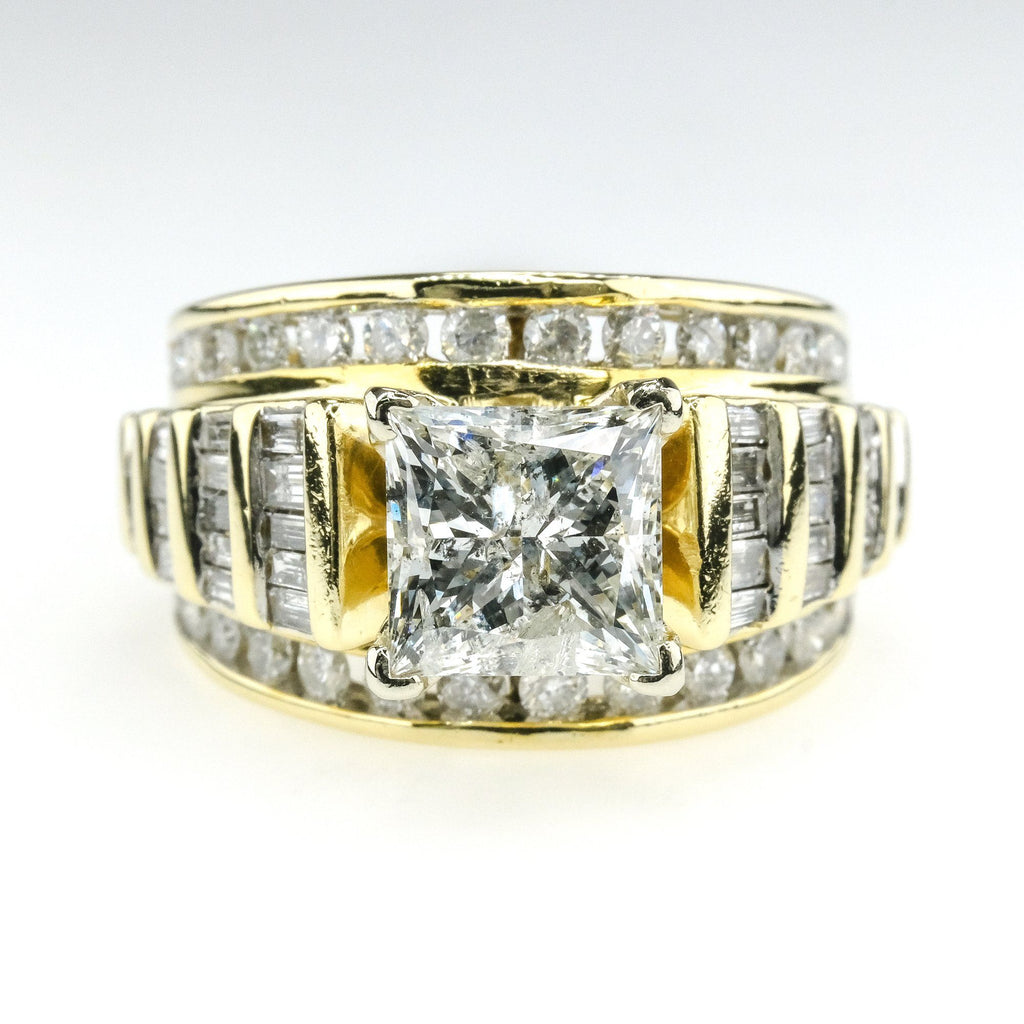 2.00ct Princess Cut Diamond w/ Side Accents Engagement Ring in 14K Yellow Gold Engagement Rings Oaks Jewelry