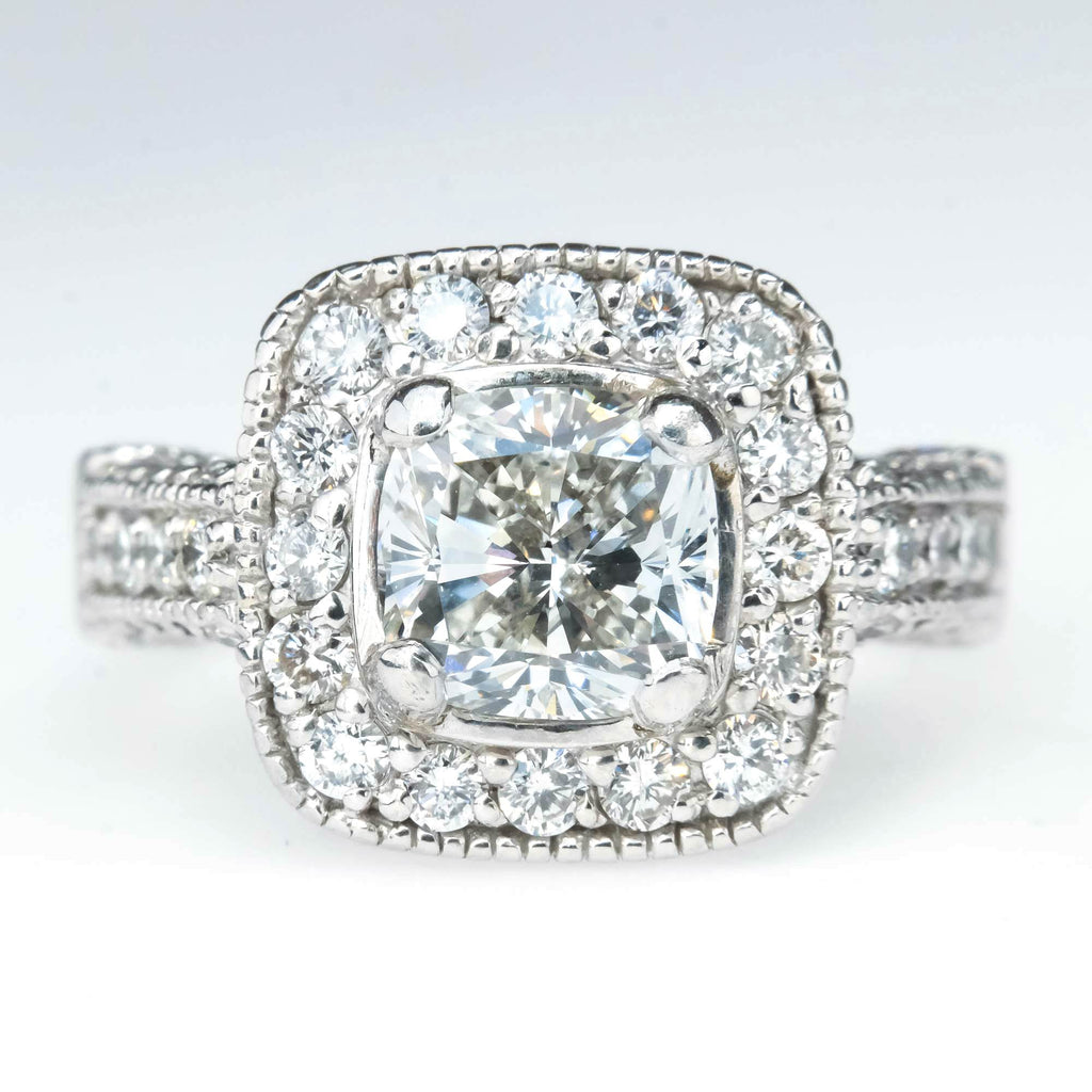 2.01ct Cushion Cut Diamond with Halo Engagement Ring in 14K White Gold Engagement Rings Oaks Jewelry