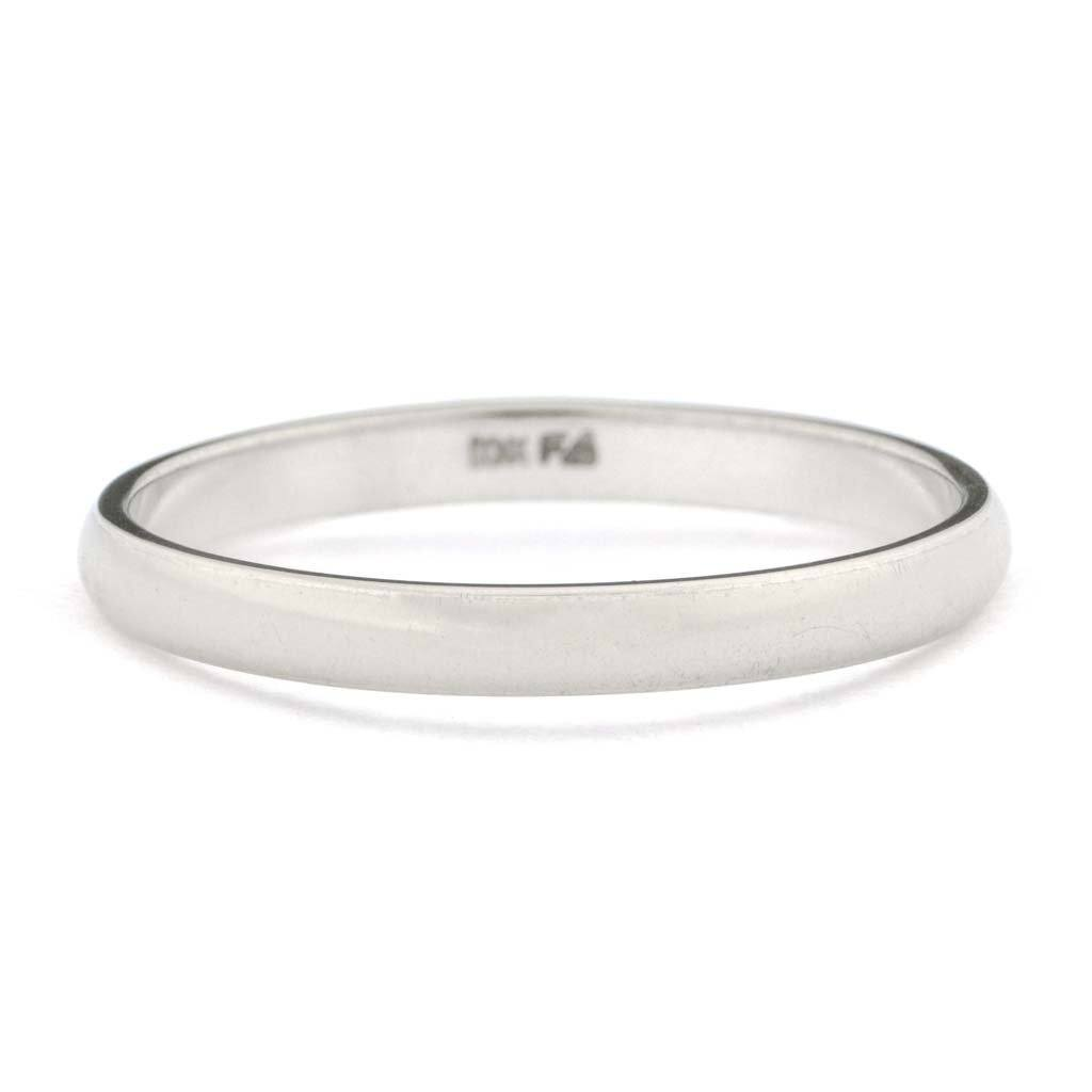 2.15mm Wide Half Round Wedding Band in 10K White Gold Wedding Rings Oaks Jewelry