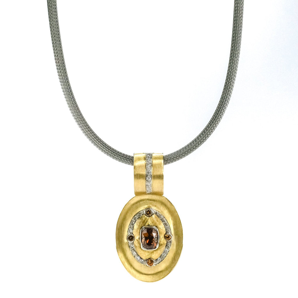 "2.25ct Spinel w/ Diamond & Citrine Accents Pendant 18"" Necklace 14/18K Platinum Pendants with Chains Oaks Jewelry"